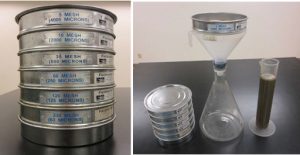 Figure 2. Stacked sieve set (left) and liquid dairy manure sieve filtration apparatus (right).