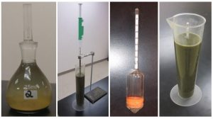 Figure 3. From left: pycnometer for particle density analysis, pipette method for extracting manure samples, ASTM 152-H hydrometer, hydrometer reading of the meniscus.