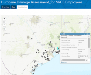 Figure 6. Screenshot of visual map of data collected through ESRI's ArcGIS Online Portal
