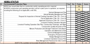 Figure 2. Section to be completed within the Livestock Matrix that addresses environmental protection plans and permits.